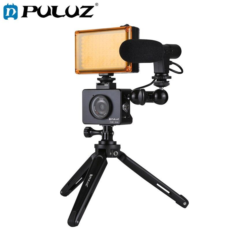 PULUZ ensemble trépied pour Sony RX0 boîtier coque Cage + rotule bras magique + trépied de bureau support + lumière + Kits Microphone noir