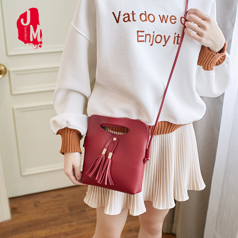 2018 New Hasp Soft Women Bag Solid Tassel Shoulder Bag Female Flap Small Women Bags Crossbody Fashion Single Mini Shoulder Bags stylish women s crossbody bag with solid