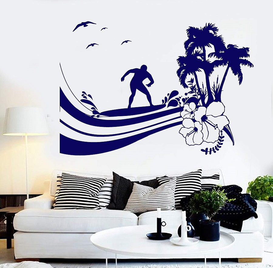 Surf sport  vinyl wall applique surf sports enthusiast adventure seaside teen bedroom school dormitory home decor applique 2CL21-in Wall Stickers from Home & Garden