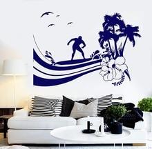 Surf sport  vinyl wall applique surf sports enthusiast adventure seaside teen bedroom school dormitory home decor applique 2CL21