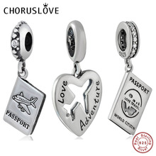 Choruslove Passport Dangle Plane Beads 925 Sterling Silver Travel World Bead Love Adventure Charm fit Pandora Charms Bracelet
