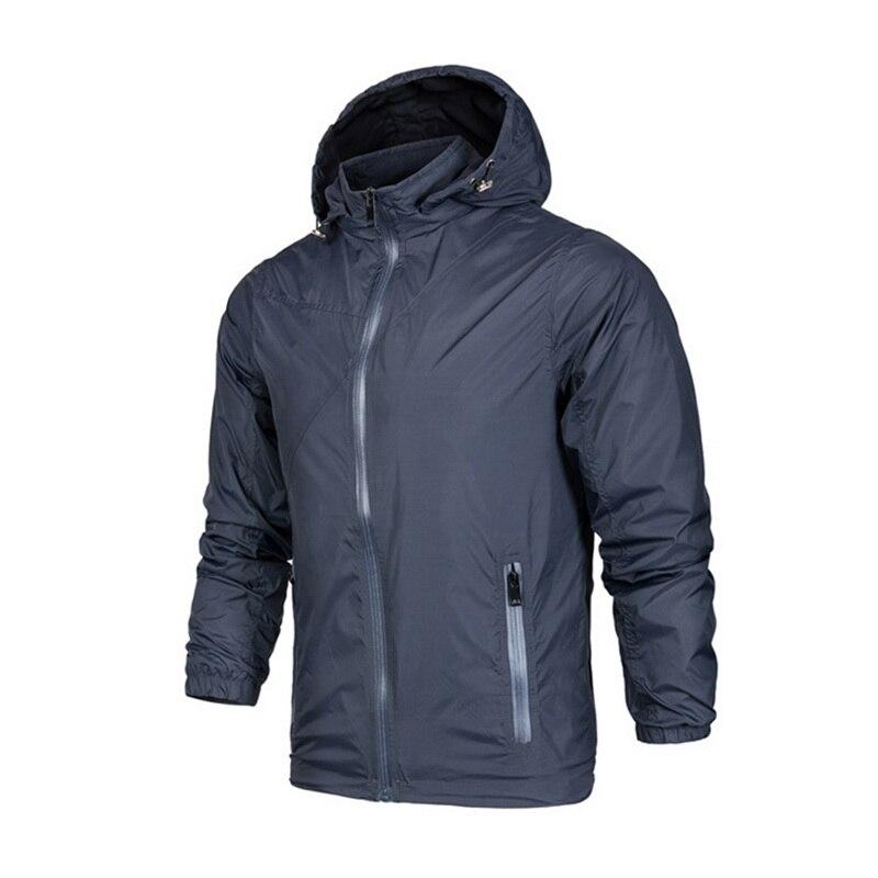 Oeak Men's Fashion Autumn New Waterproof Windproof Hooded Double Layer Zipper Jacket New Thin Casual Outdoor Sports Coat