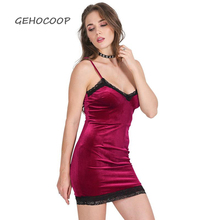 f39b37cab03a GEHOCOOP Vintage Sexy Evening Party Short Bodycon Dress Lace Backless Sling  V Neck Mini Pencil Velvet