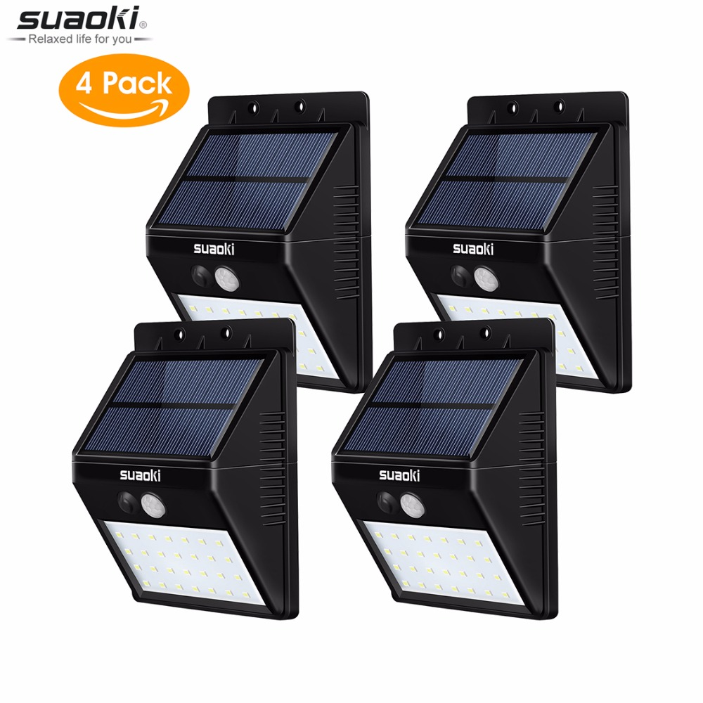 4 pcs Suaoki 2200mAh Motion Sensor 28 LED Light Auto On Off Rechargeable Solar battery IP65