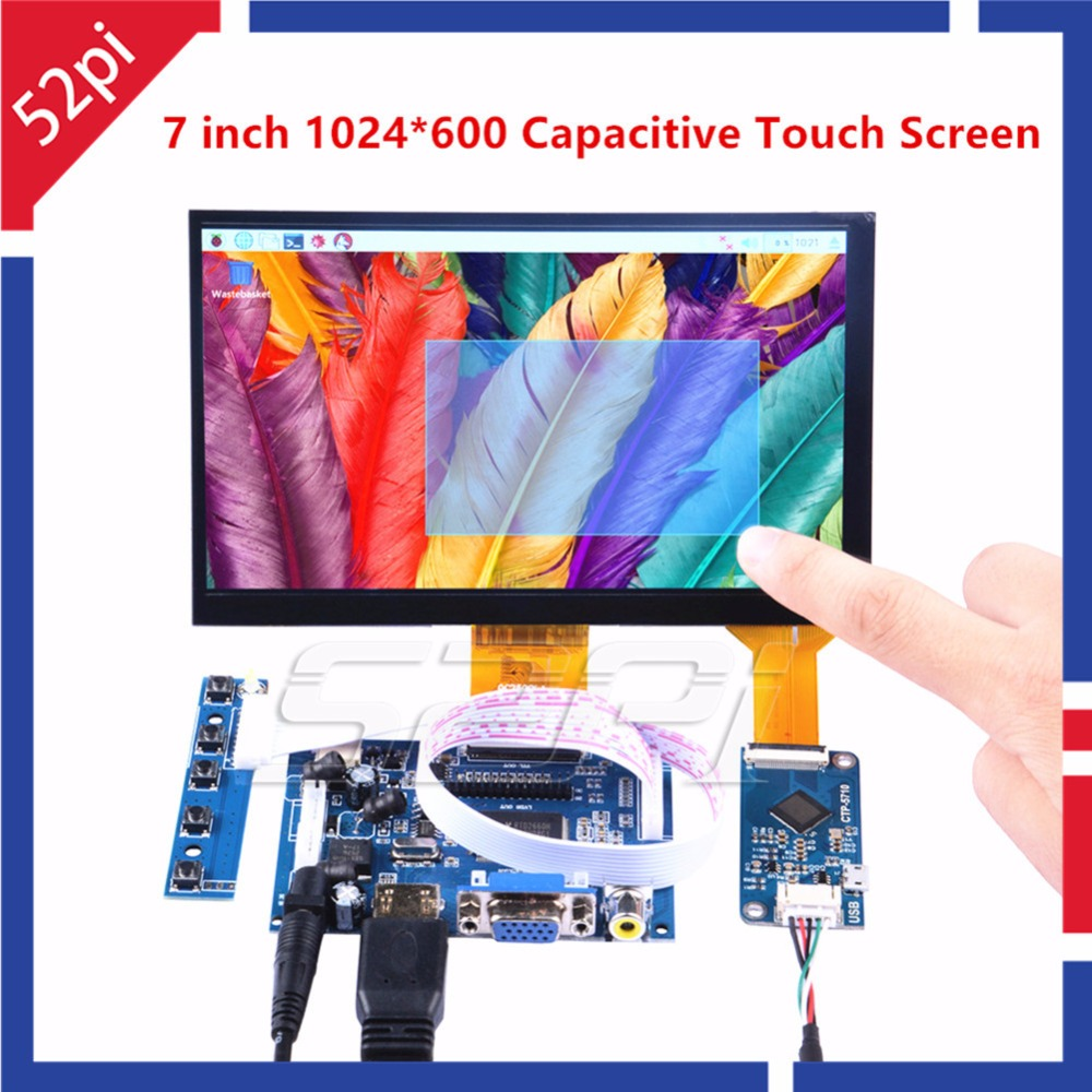 52Pi 7 inch 1024*600 Free Driver Display Capacitive Touch Screen Monitor for Raspberry Pi/Windows/Beaglebone Black Plug and Play acv pi 622