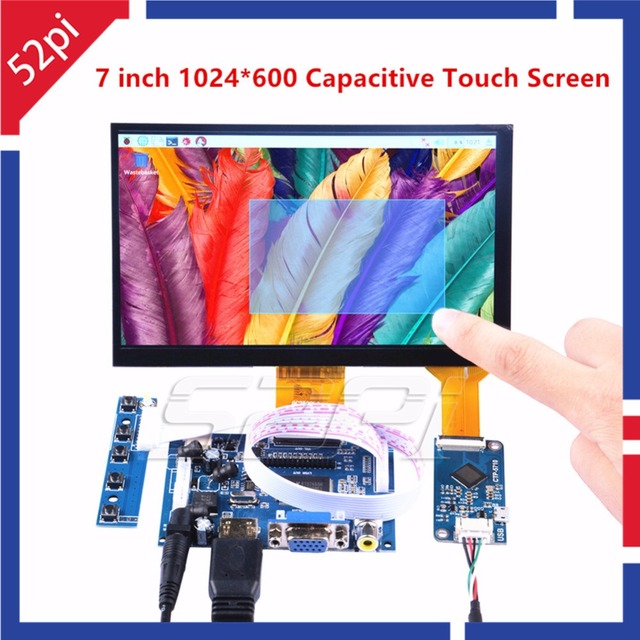 52Pi 7 inch 1024*600 Free Driver TFT Display Capacitive Touch Screen Monitor for Raspberry Pi/Win/Beaglebone Black Plug and Play