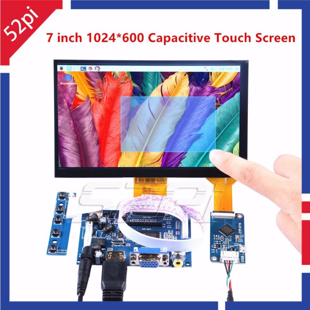 52Pi 7 pouce 1024*600 Pilote Libre Affichage Capacitif Écran Tactile Moniteur pour Raspberry Pi/Windows/Beaglebone noir Plug And Play