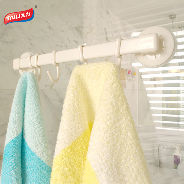 strong suction towel bar 5 hooks bathroom towel hook kitchen holder no drilling movable - Bathroom Towel Hooks