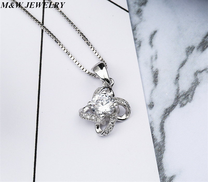 M&W JEWELRY New Arrival 925 Sterling Silver Crystal Clover Necklaces Pendant Hot Sale Pure Silver Cross Jewelry for Women