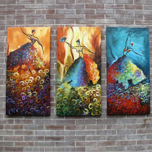 Unframed oil painting three picture combination modern abstract dancer girls paintings for wall decoration