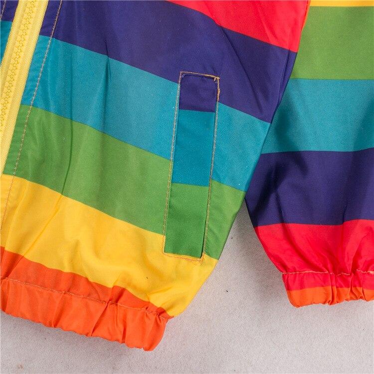 Toddler Girl Jackets Girls Outerwear Coats Rainbow Color Striped Hooded Zipper Coats Fashion Children Windbreaker Kids Coats in Jackets Coats from Mother Kids