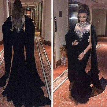 2019 Haifa Wahbe Black Evening Dresses With Cape Dubai Arabic Crystal Beaded Party High Neck Mermaid Gowns