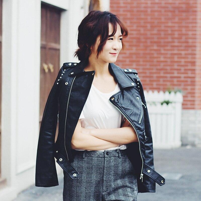 Moto Nouveau Zipper Vestes Jakcets Femmes Cuir Printemps Rivet Black Femelle Outerwears Mode Conception De Pu Court Coréen 2018 5Oqx1F