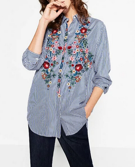 New Women Tops 2017 Spring Fashion Women Blouses Butterfly Print V Neck
