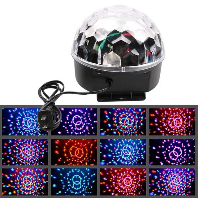 Professional Voice Cotrol Stage Light RGB LED Crystal Magic Ball Party Disco Stage Light Sound Active  US/EU/AU/UK Plug