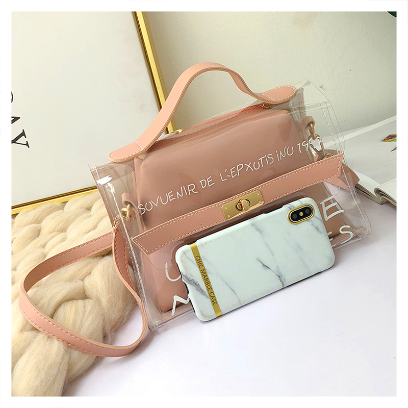 MengXiLu Women Composite Handbags 2Pcs Letter Printing Fashion PVC Designer 2019 High Quality Crossbody Messenger Bags For Women