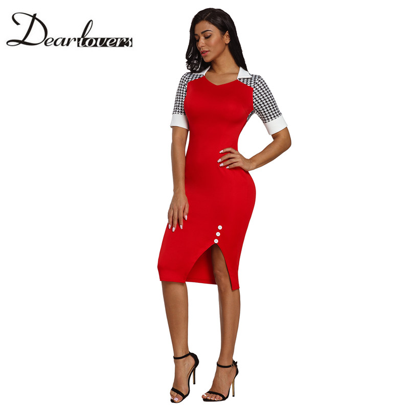 Dear lovers Summer Elegant Women s Dress Patchwork Black Red Office Sheath Ladies  Bodycon Midi Dress Vintage Style 19ed0eaced