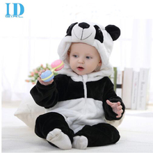 2016 Infant Romper Baby Boys Girls Jumpsuit New born Bebe Clothing Hooded Toddler Baby Clothes Cute Panda Romper Baby Costumes(China)