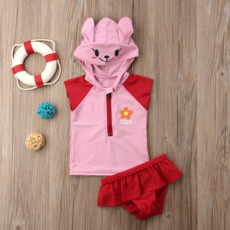 Cute Kid Baby Girls Hooded Swimming Costume Bathing Swimsuit Bikini Set Swimwear Baby Sl ...