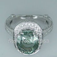 Jewelry Sets Vintage Oval 8x10mm 14Kt White Gold Diamond Green Amethyst Ring YWR0054
