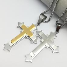 Hot Bible Verse Necklace Male/Female Three Layer Stainless Steel Gold Color Cross Pendant & Chain Christian Jewelry