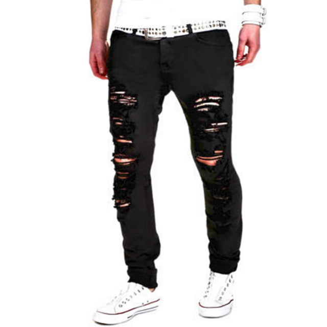 Brand Male New Fashion 2017 Slim Beggars Washed Holes Europe Tide Men Casual Pants Man Trousers Designer Mens Joggers 2XL DS