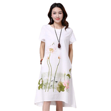 Short Sleeve White Lotus Printing O-Neck Women Dresses Casual Cotton Linen Knee-Length Dress  Vestidos Summer Plus Size short sleeve white lotus printing o neck women dresses casual cotton linen knee length dress vestidos summer plus size