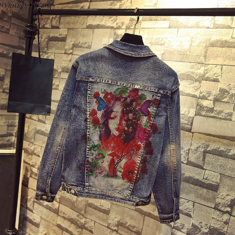 WHITNEY WANG 2019 Spring Autumn Fashion Streetwear Character Florals Painted Denim Jacket Women Stylish Jean Coat