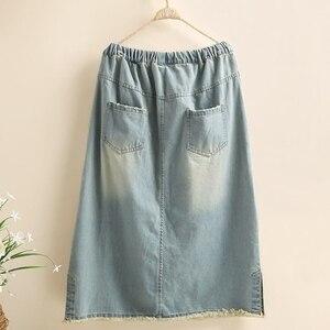 Image 3 - Frete grátis 2020 novo borlas algodão denim longo mid calf saias para as mulheres verão cintura elástica a linha bordado buracos saias