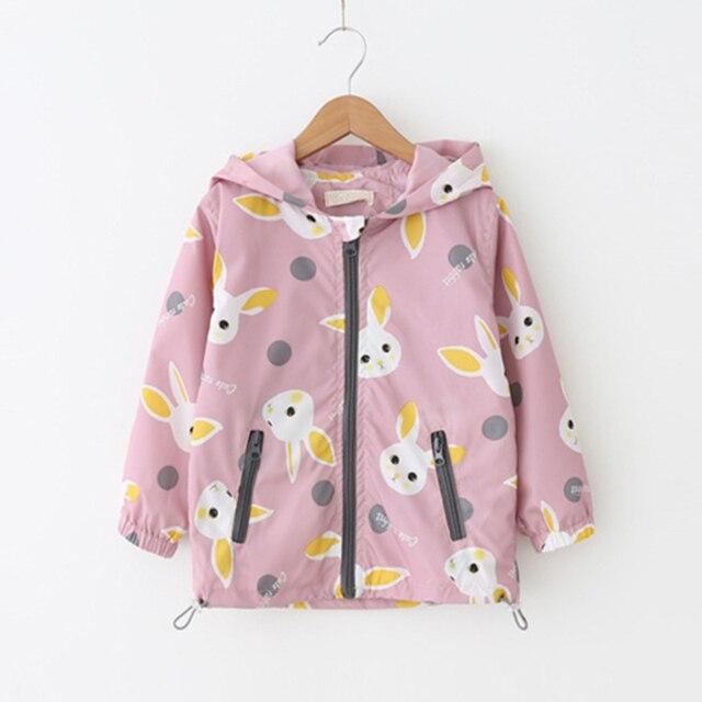 Весенние жакеты-пальто для ребенка Обувь для девочек мультфильм кролик ветровка с капюшоном Детская одежда с хранения Вышивка Крестом Пакет модная куртка