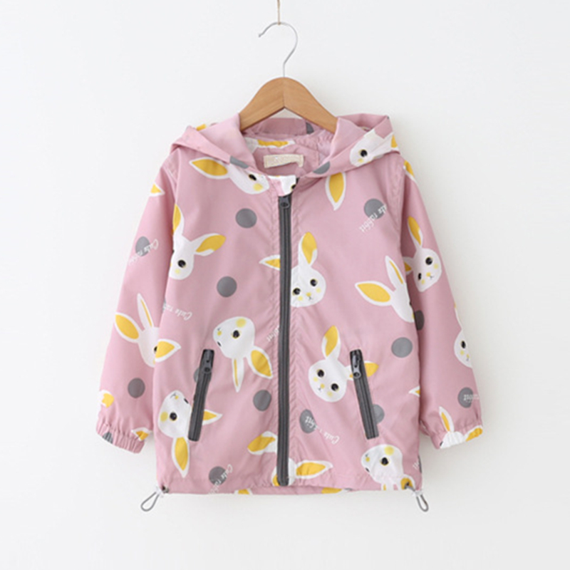LILIGIRL Baby Long-Jackets Coat for Childrens Girls Cartoon Hooded Bunny Windbreaker 2018 Kids Fashion Jackets Clothes Outwear