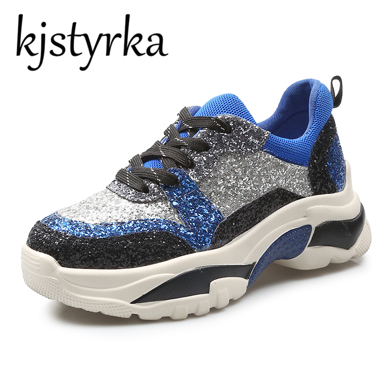 Kjstyrka 2018 Fashion Casual Shoes Women Autumn Comfortable Breathable  Flats Shoes Female Platform Blue Bing Glitter Sneakers-in Women s Flats  from Shoes on ... 1a392d4005f5