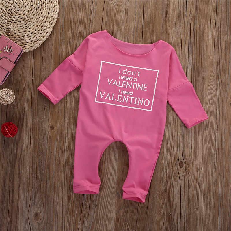 Валентина Повседневное комбинезон с принтом букв свободные для маленьких девочек розовый Костюмы хлопковая одежда для малышей комплекты одежды для новорожденного
