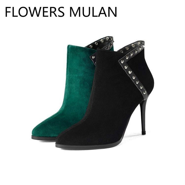 6d93e2be2ef Black Emerald Green Suede Ankle Boots for Women Chic Pointed Toe Studded  Rivets Zapatos De Mujer High Heels Shoes Woman Botas