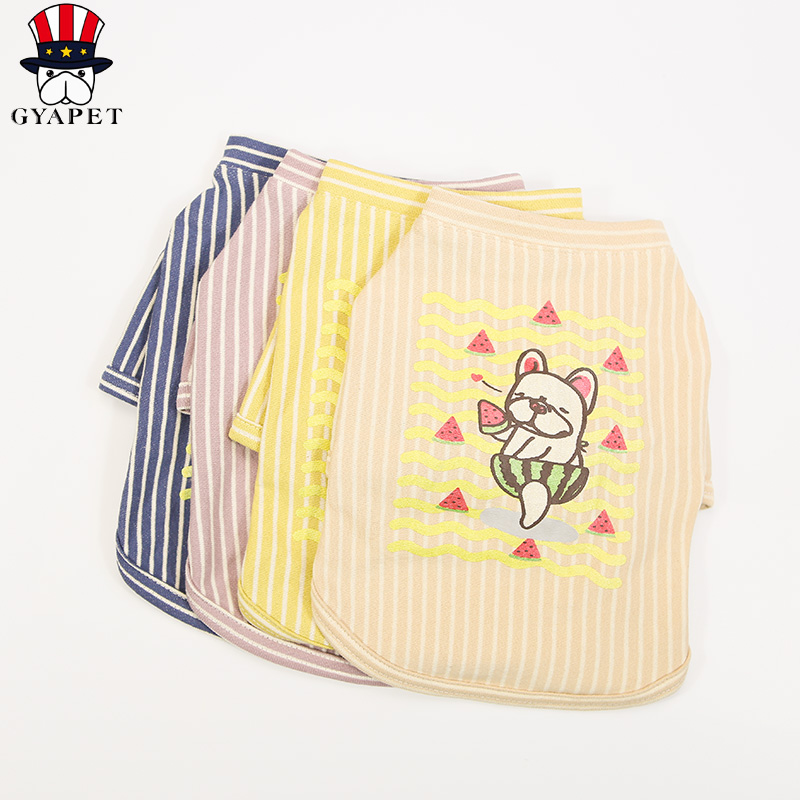 Spring Summer Dog T-shirts Yellow Blue Brown Color Pet Clothing Pet Shirts Fashion Dog Clothes For Small Dogs S-2XL