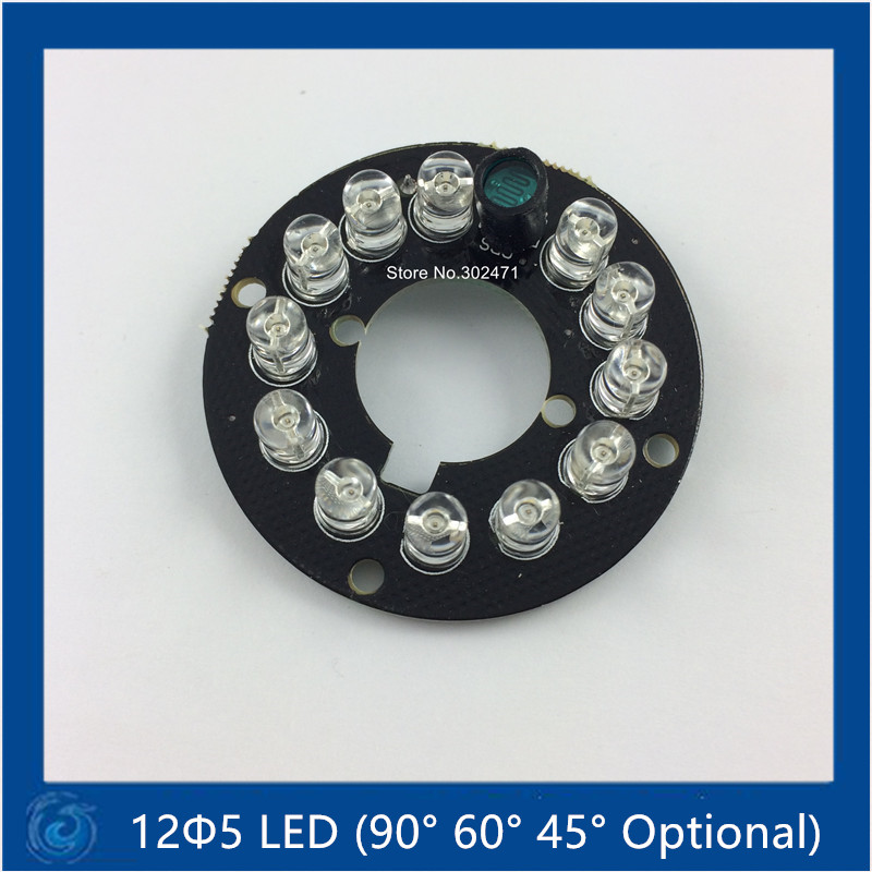90 Degree Bulb,Infrared 12 X 5 IR LED Board For Dome CCTV Cameras Night Vision,(big F17-F44mm)