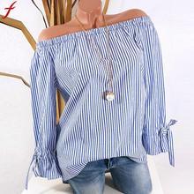 Off Shoulder Shirt Women Long Sleeve Stripe Print Big Size Tunic Tops 2018 Autumn Plus size
