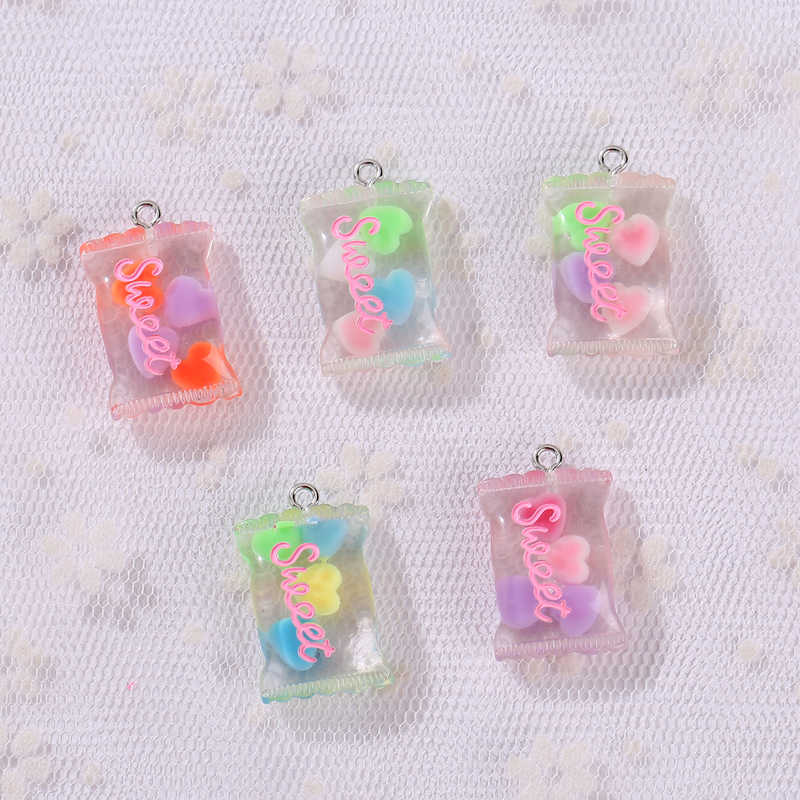 20pcs resin moon candy color necklace charms very cute keychain pendant  necklace pendant for DIY decoration