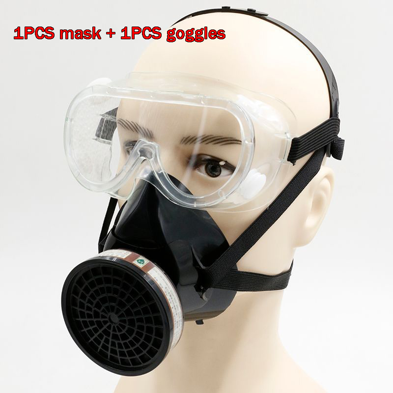 goggles + respirator gas mask YIHU Silica gel mask with filter Painting pesticide industrial safety chemical gas mask new safurance protection filter dual gas mask chemical gas anti dust paint respirator face mask with goggles workplace safety
