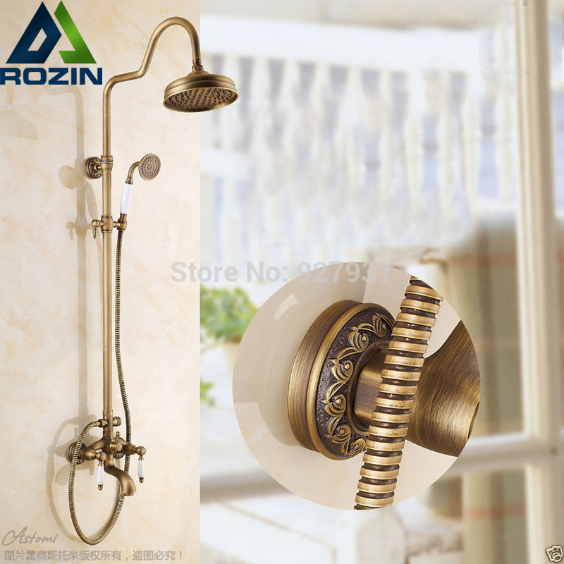 Antique Brass  8 Rainfall Bathroom Shower Faucet Set Wall Mounted Bath Shower Mixer Set Dual  Handle With Handshower wall mounted single handle bath shower faucet with ceramic handshower antique brass finish