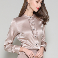 Blouses shirts Silk Stain white office lady full sleeve Plus Size Woman Summer Red silk Tops work formal shirts blouse 2019
