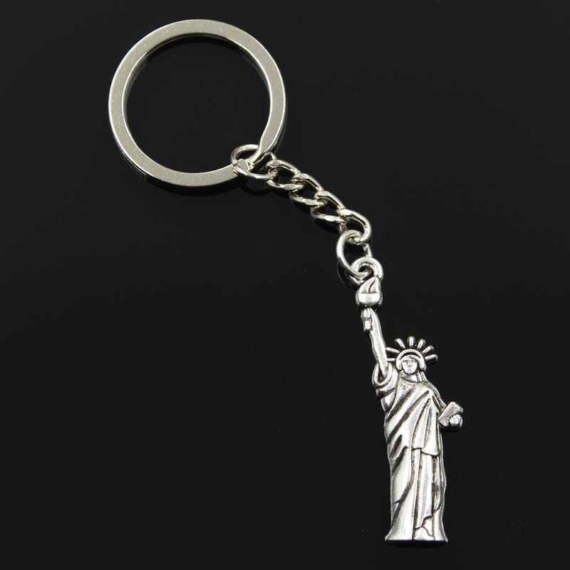 new fashion men 30mm keychain DIY metal holder chain vintage statue of liberty new york 49x14mm silver pendant Gift