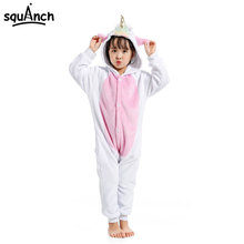 Kids Golden Horn Unicorn Kigurumi Cartoon Animal White Pink Onesie Kid Girl Winter Long Sleeve Soft Pajama Fantasias Outfit