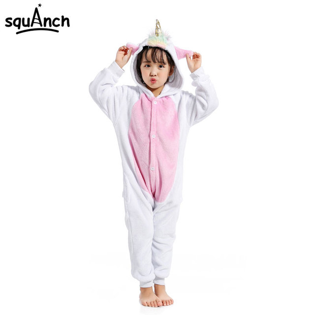 e4f712d3a Kid s Golden Horn Unicorn Kigurumi Cartoon Animal White Pink Onesie ...