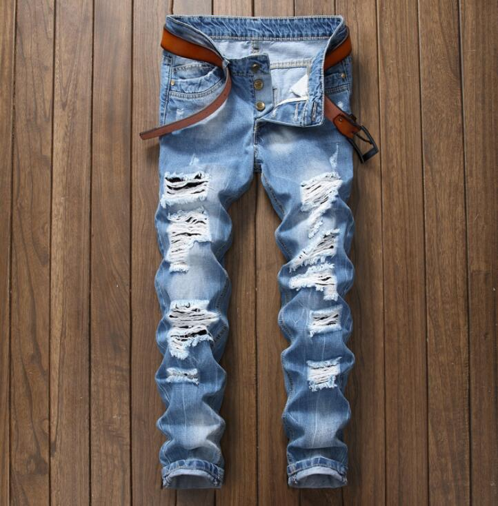 Original Design New Manual Worn Out Mid Waist Jeans Men's Pants Europe America Summer Light Blue Hole Jeans Male Blue Trousers