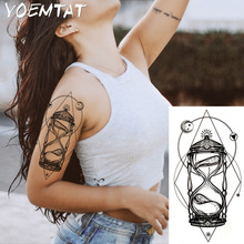 1PC Light Hot Black White Stor Blomst Henna Midlertidig Tattoo Svart Mehndi Style Vanntett Tattoo Sticker