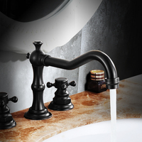 American Black Antique European Style Of The Ancient Copper Washbasin Bathroom Bathtub Faucet And Three Basin
