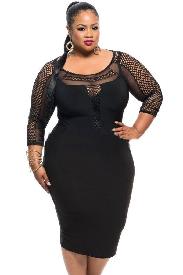 Plus size big hole fishnet dress