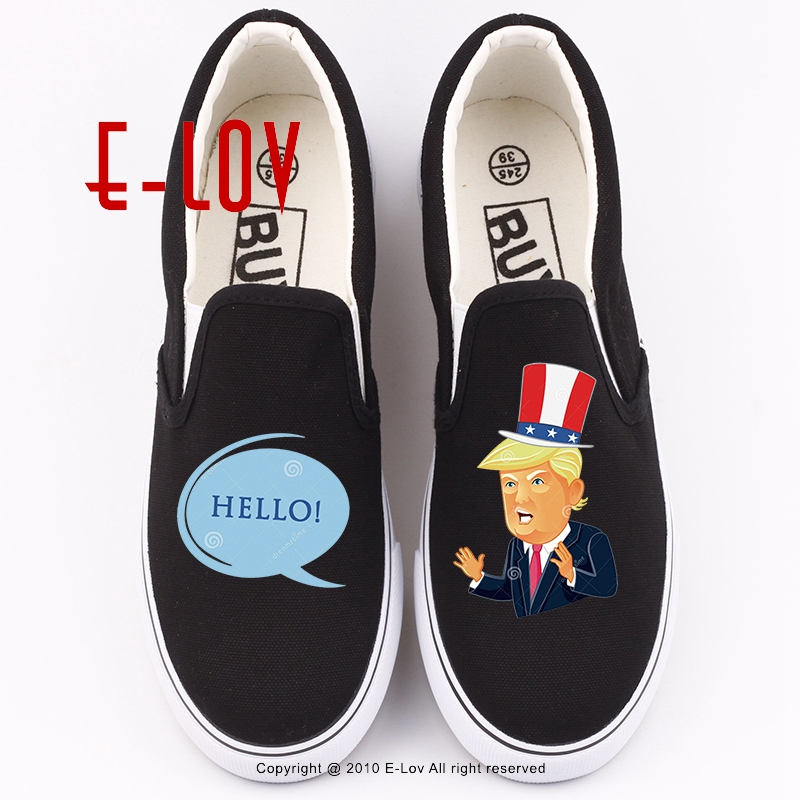 3D Print Cute Cartoon Donald Trump Canvas Shoes Women Casual Flat Shoes Unisex Hip Hop Shoe Plus Size Fashion Woman Girl Loafers trump donald john trump think like a billionaire