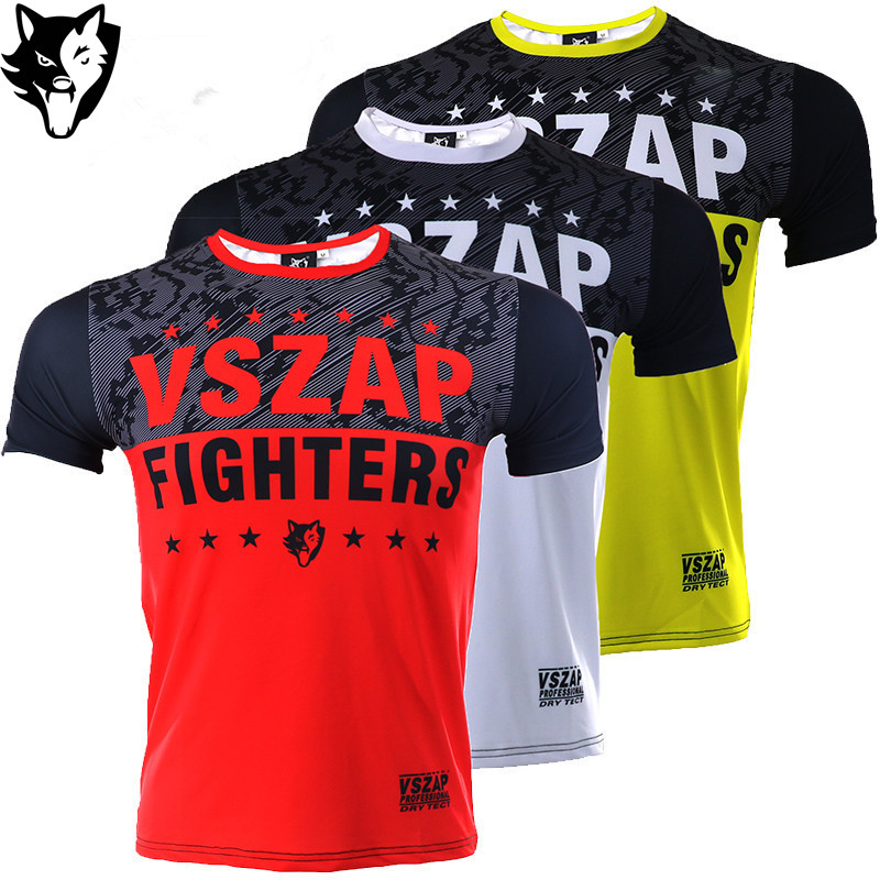 VSZAP Printed Rashguard Men Mma Boxing Shirt Compression Quick Dry Shirts Running Jogging Gym Shirts Fight Tights